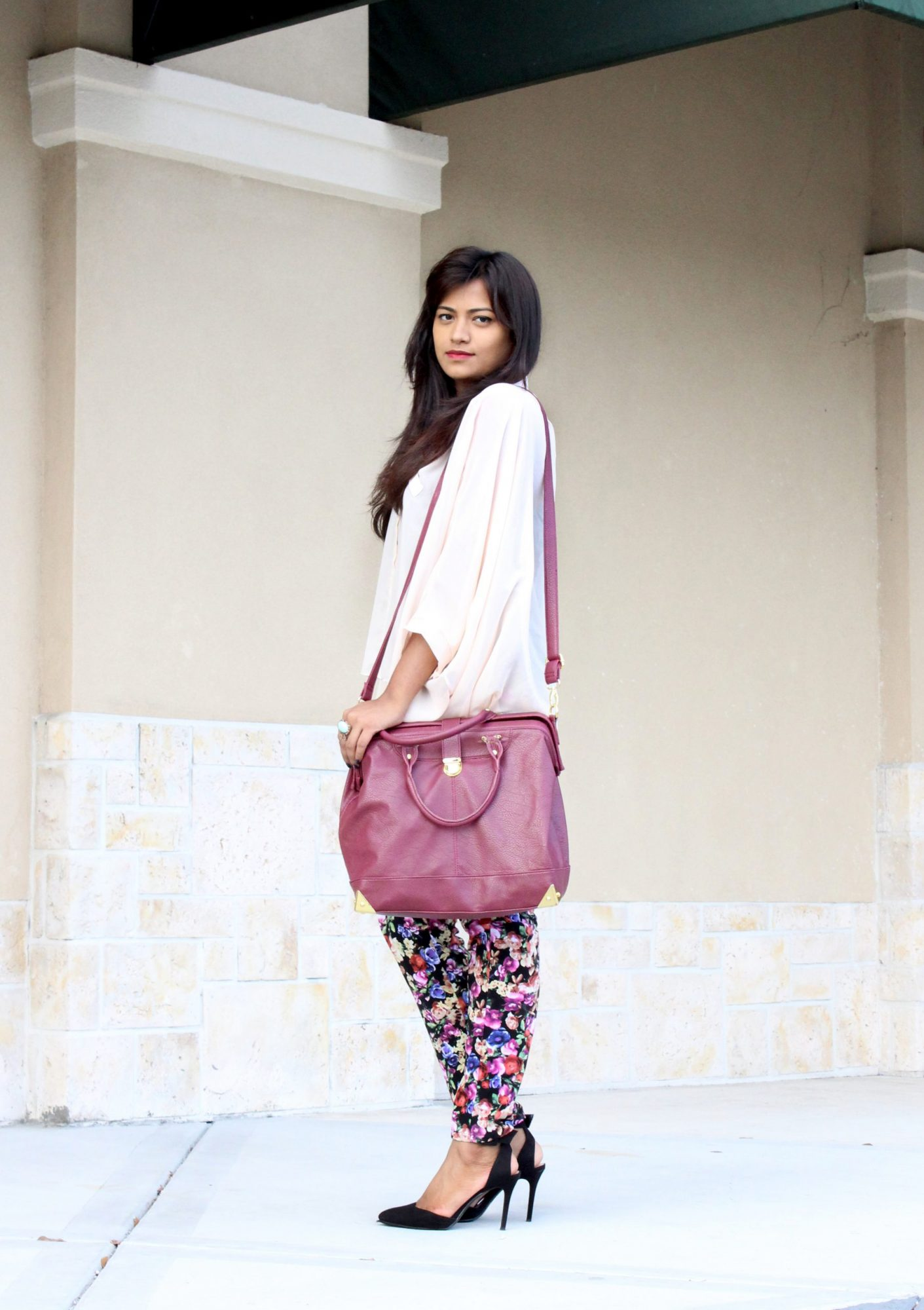 Floral Pants, Forever 21, Just Fab Satchel