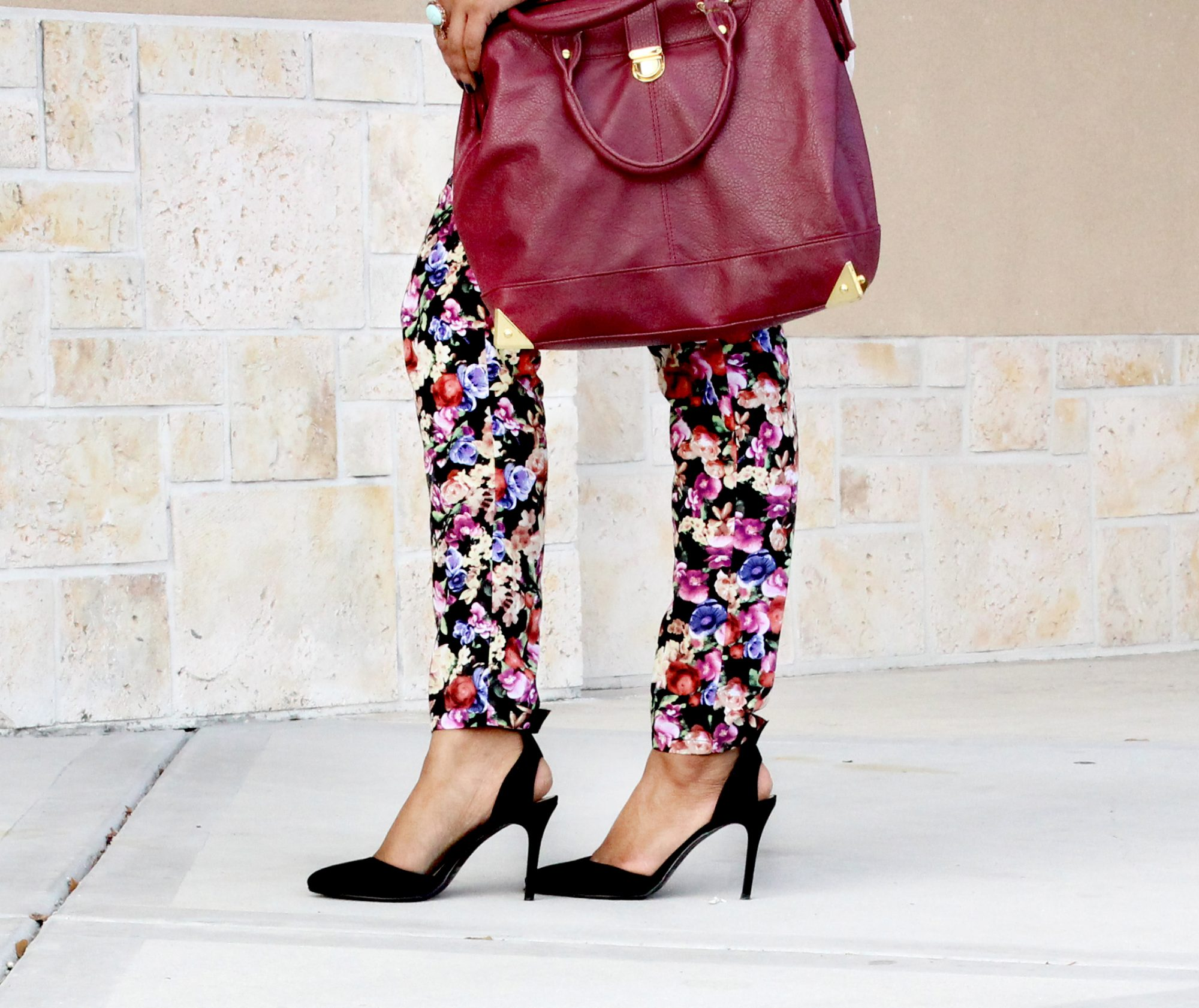 Traffic Shoes, Floral Pants, Just Fab Handbag