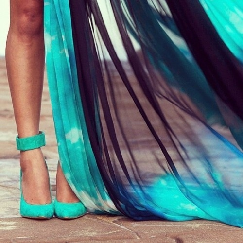 teal dress and shoes