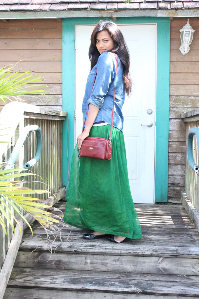 Afroza Khan Best Fashion Blogger Emerald Maxi Skirt