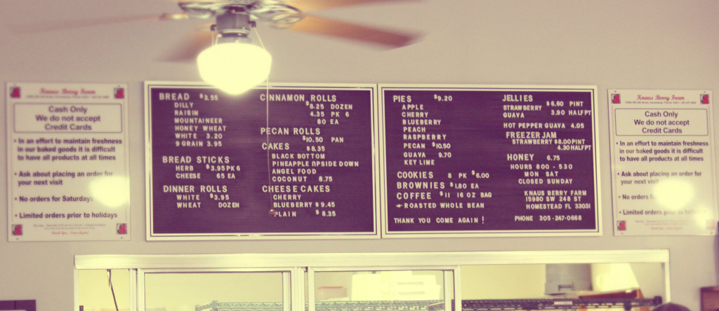 Knaus Berry Farm Menu