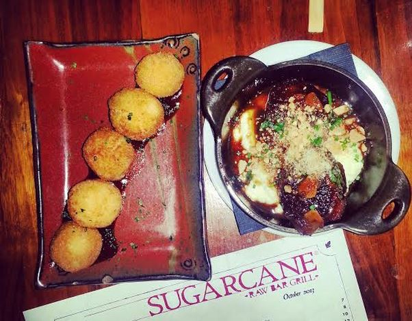 Sugarcane Raw Bar Grill Goat Cheese Croquettes and Chicken Meatballs