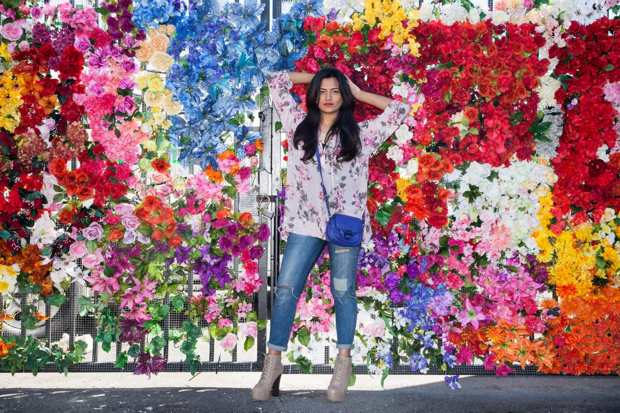 Miami Fashion Blogger Wall Of Flowers Afroza Khan