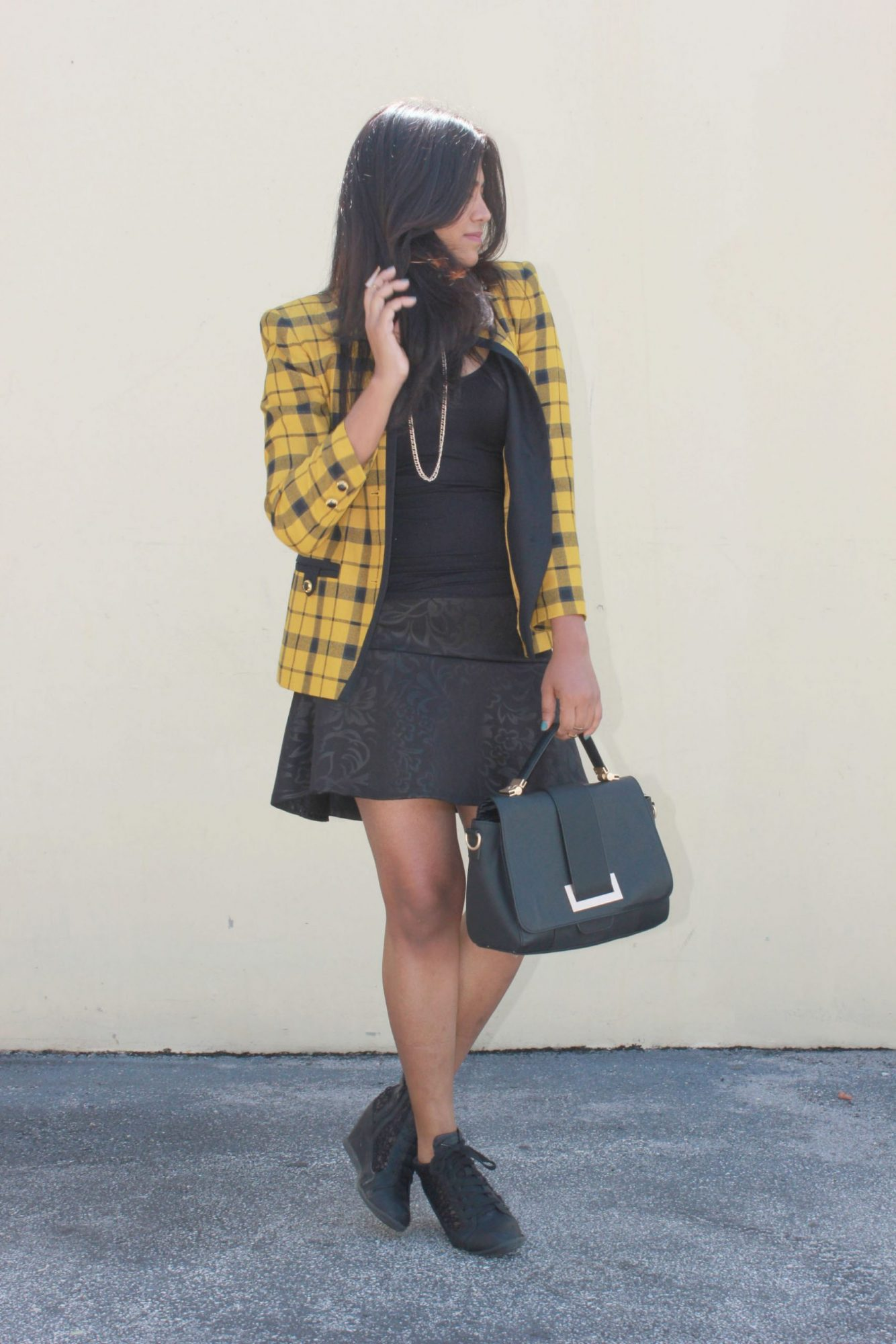 Miami Fashion Blogger Plaid Yello Jacket WIW