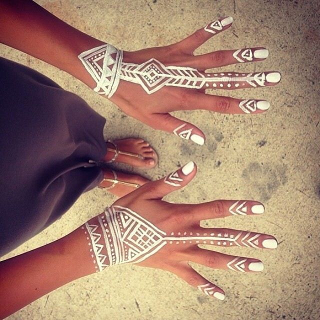 Bohemian Hippie White Henna Tribal Design