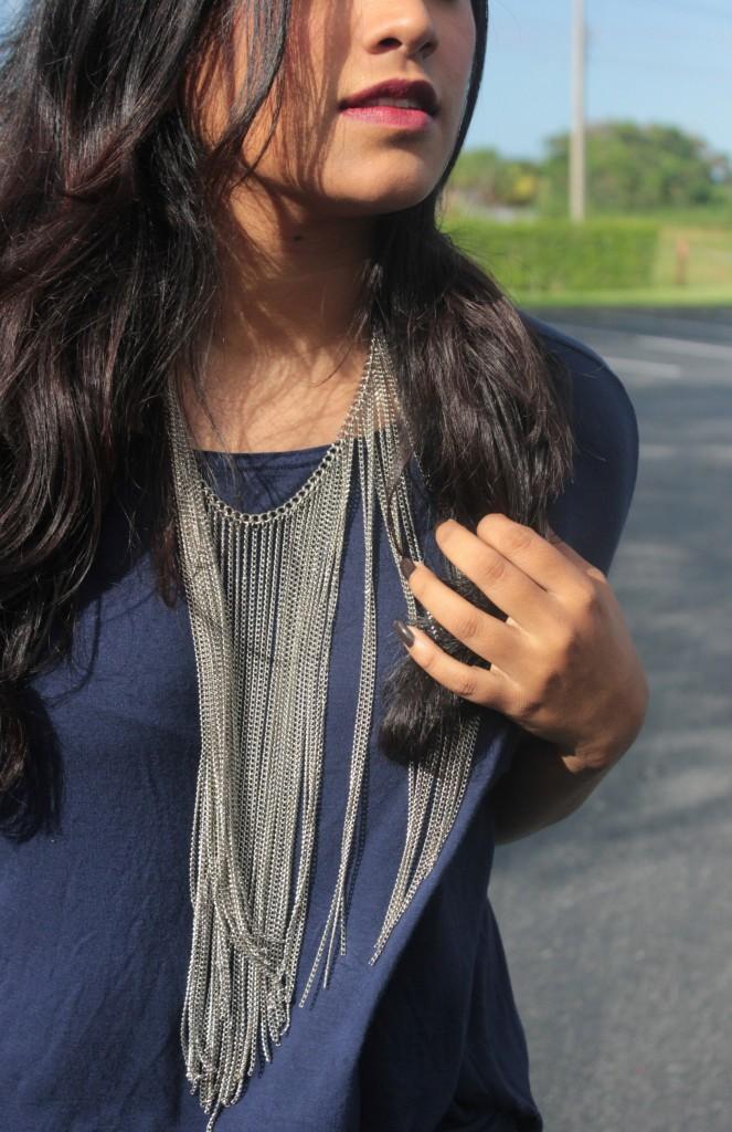 Miami Fashion Blogger Silver Chain Necklace