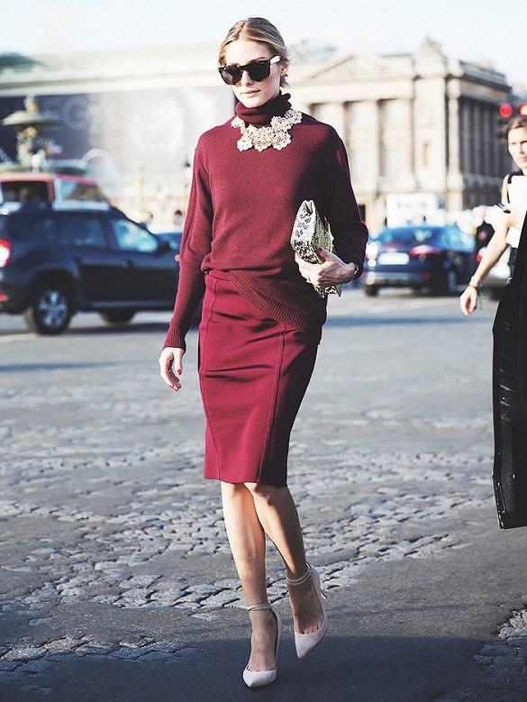 Wine Red Beautiful Olivia Palermo Street Style Star