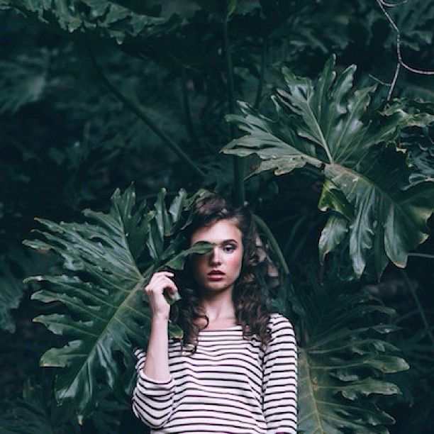 Light Green Editorial Earth Striped Shirt Leaves