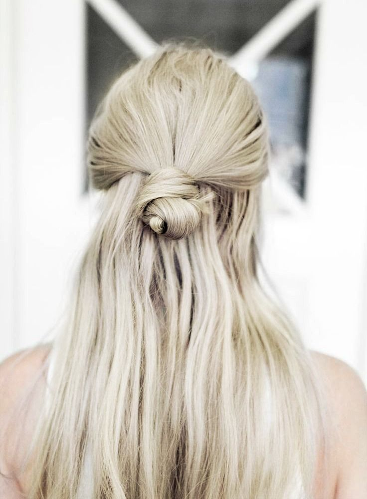 Blonde long hair half bun hairstle