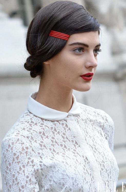 Red Bobby Pins Hairstyle