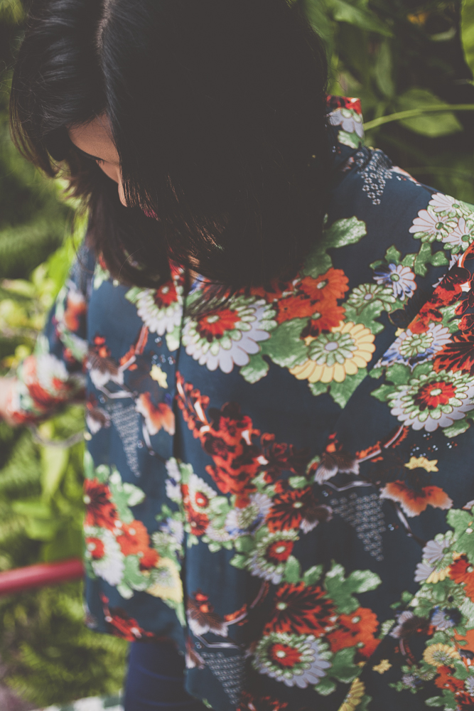 Fall Dark Floral Oversized Shirt