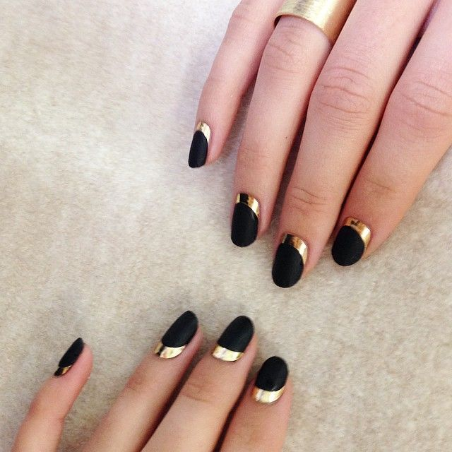 Gold & Black Half Moon Nail Design
