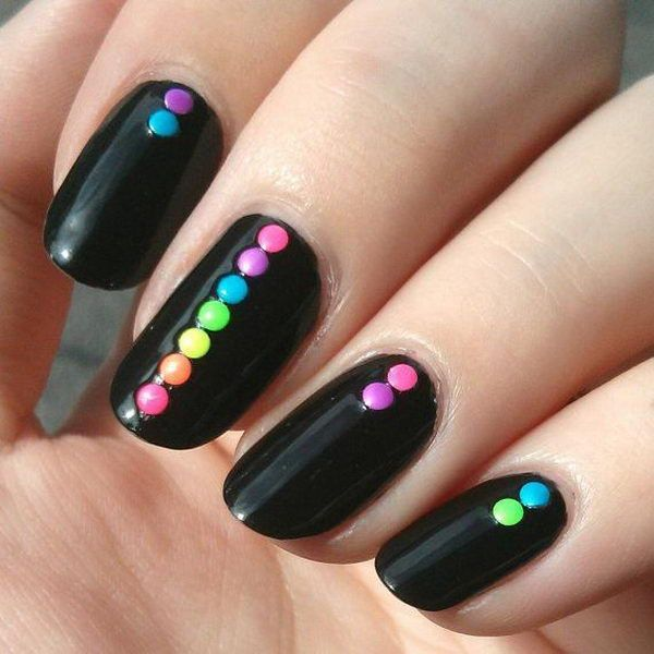 Multi Color Dots Black Nails