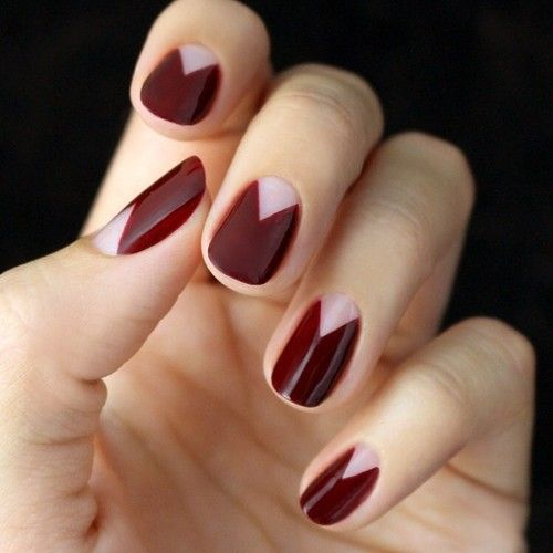 Oxblood Maroon Negative Space Nail Design