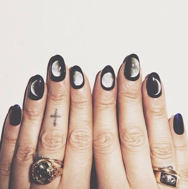 Phases of Moon Hippie Dark Nail Design