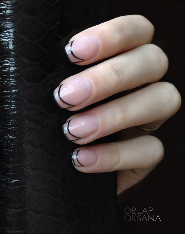 See through black lines nail design