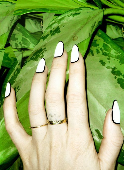 White and Black Almond Shape Nails