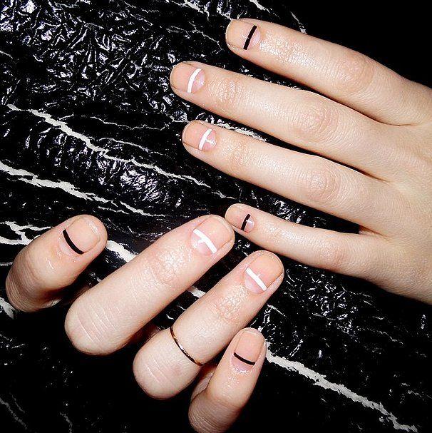 minimalistic clean lines nail design