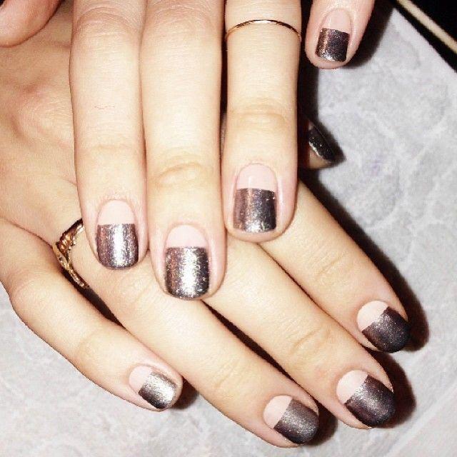 negative space glitter nail design