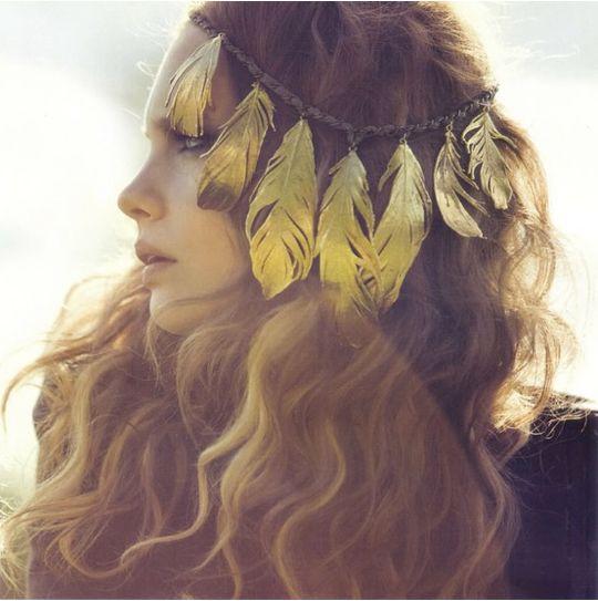Gold Feather Headband Coachella