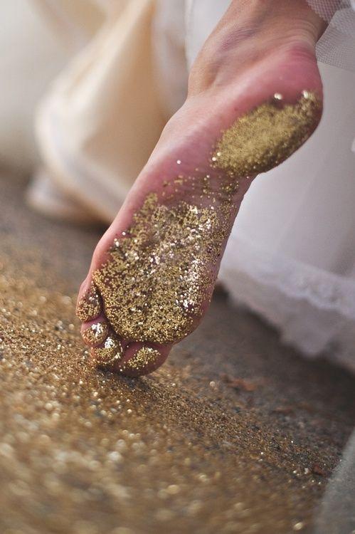 Gold Glitter Footsteps