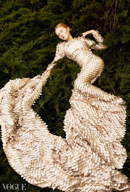 Gold Scale Long Couture Dress Vogue