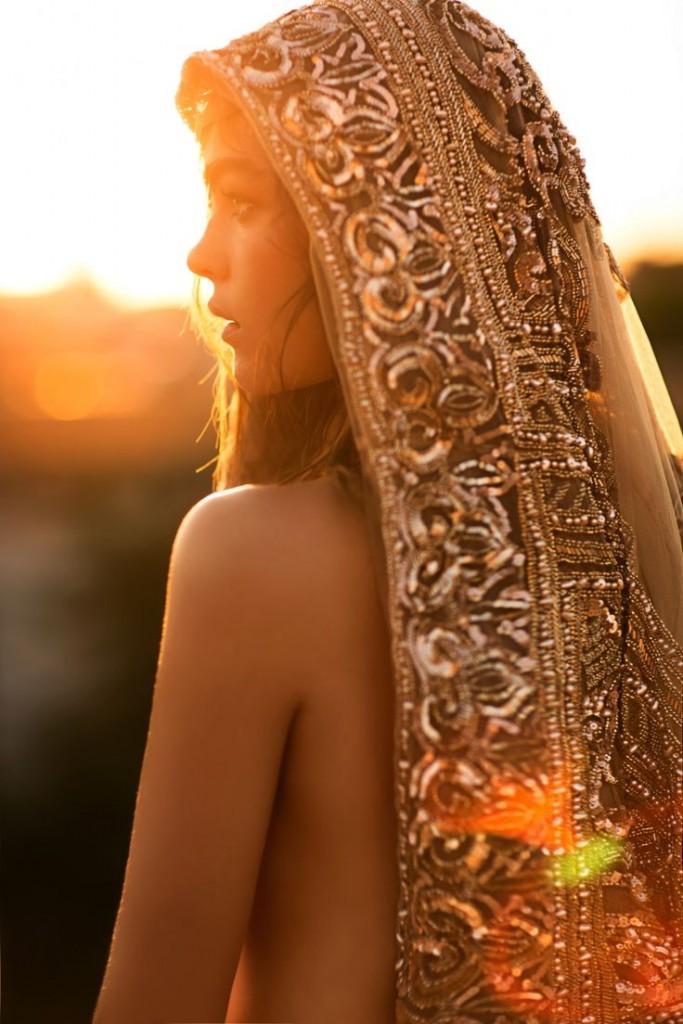 Indian Bride Gold Embellished Veil Wedding