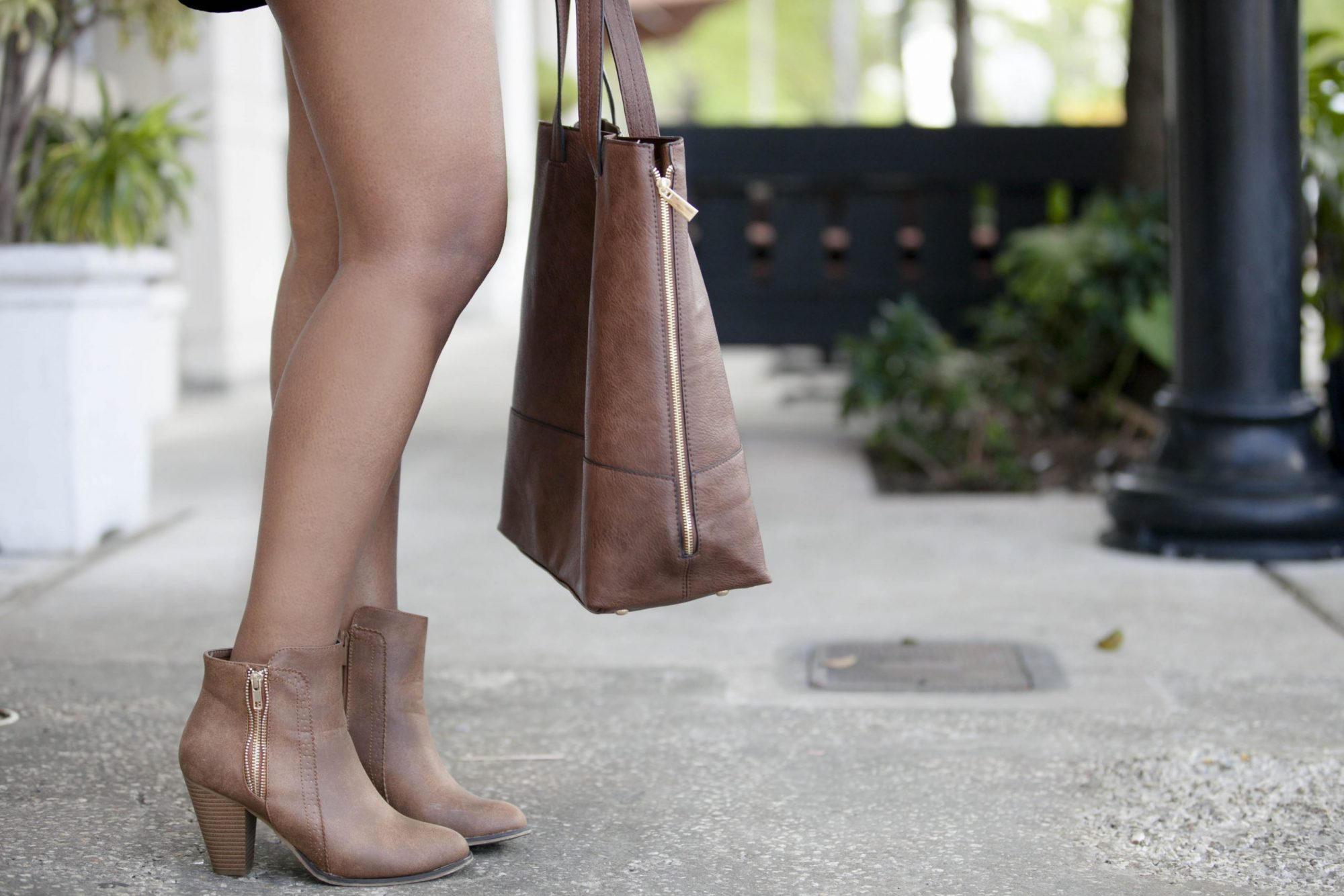 Fashion Blogger Tan Ankle Bootie & Purse