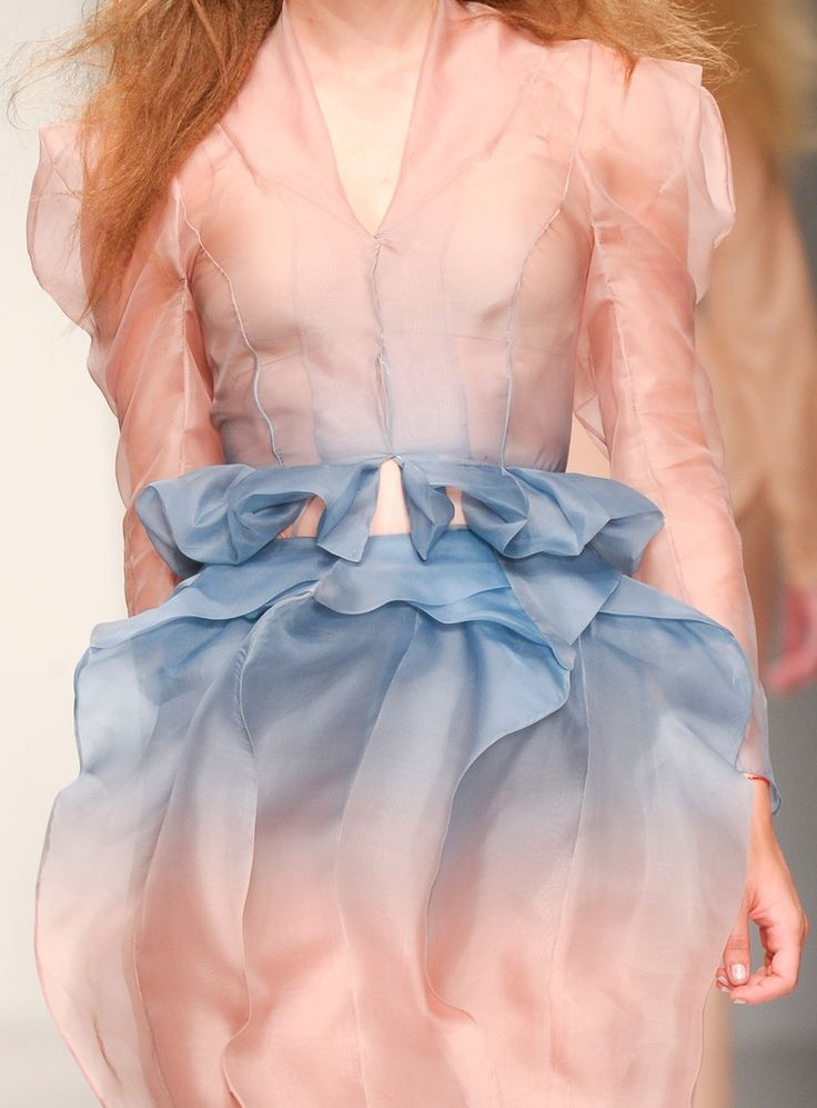 Pink and blue runway dress
