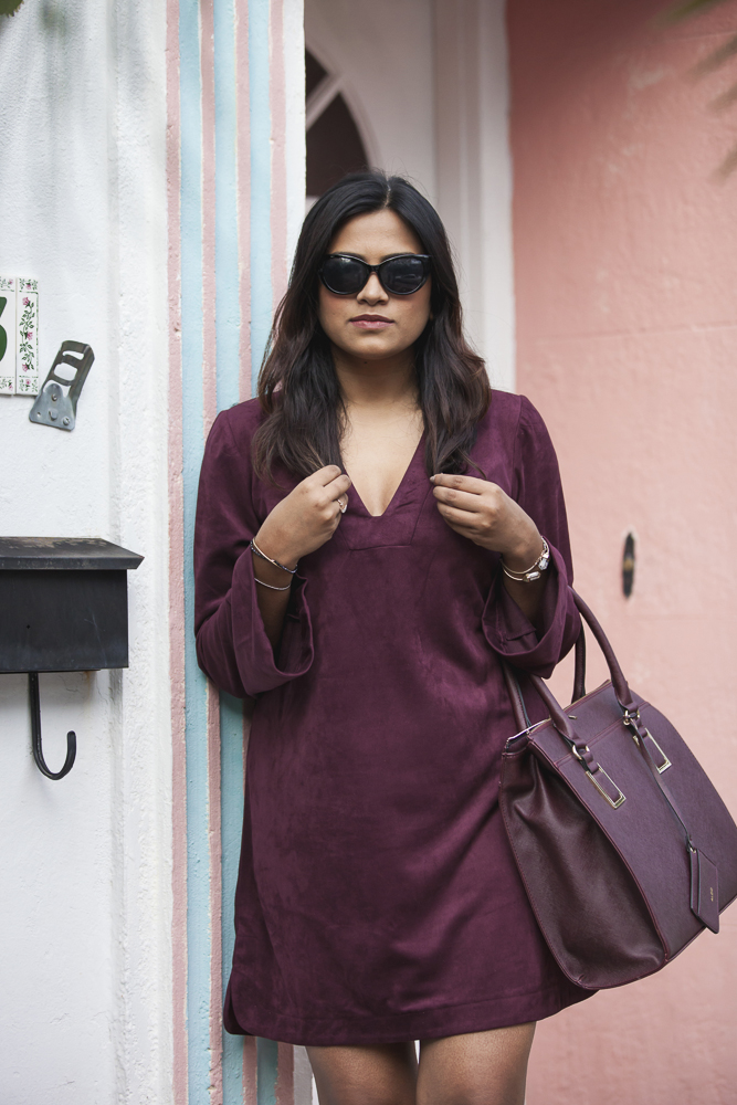 Suede Plum Dress