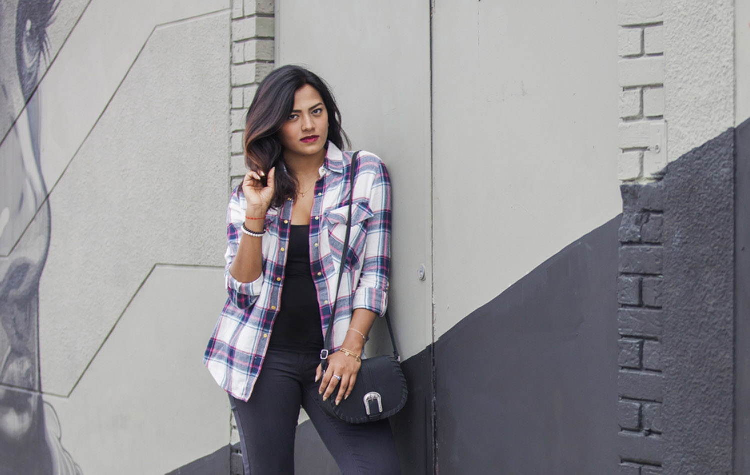 Ombre HairStyle Plaid Shirt