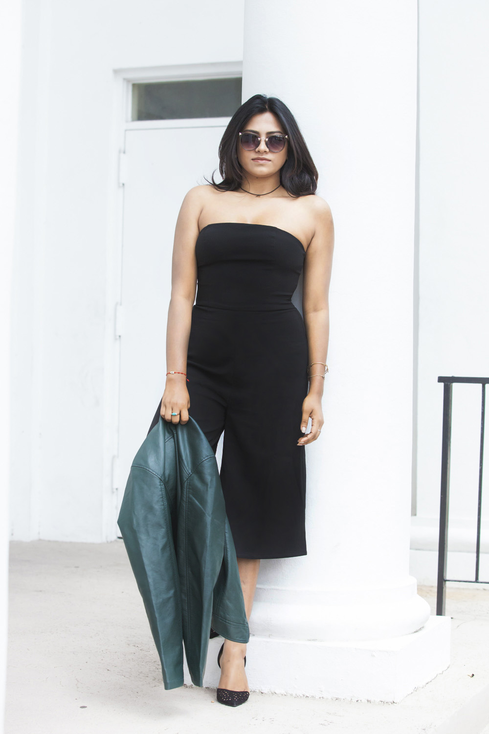 Tobi Black Jumpsuit and green jacket OOTD