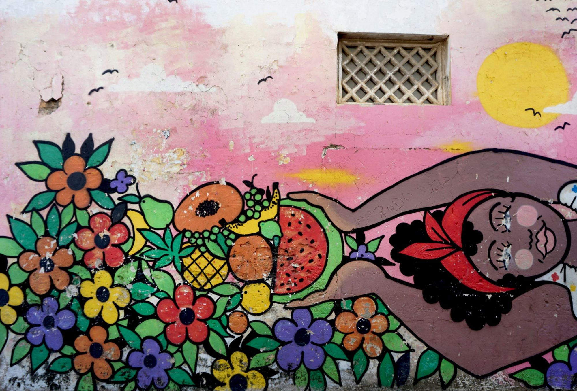 Getsemaní Cartagena Colorful Fruit Lady Mural