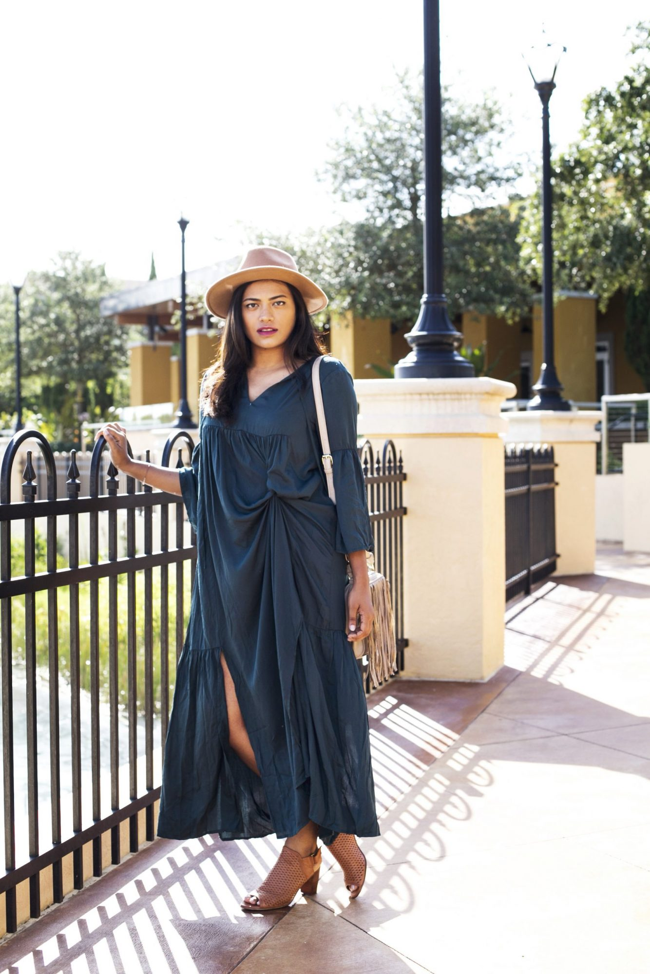 Shein Dark Green Maxi Dress Fall Fashion Chic Stylista