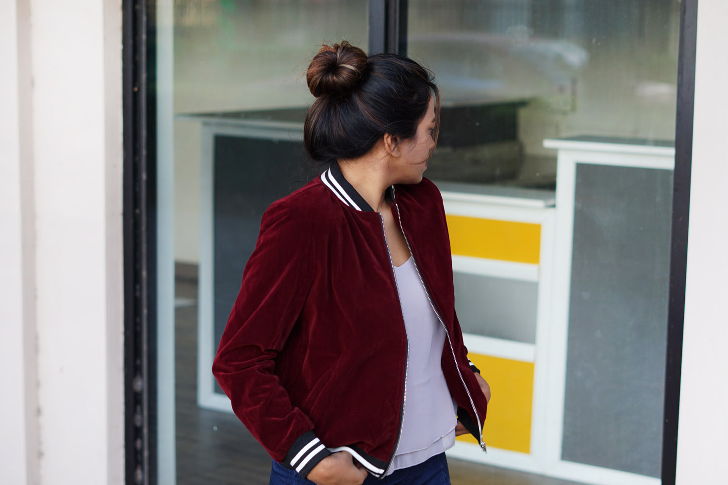 burgundy-velvet-sports-bomber-jacket-outfit
