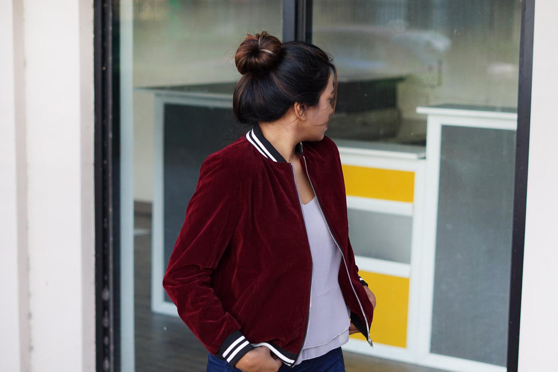 burgundy-velvet-sports-bomber-jacket-outfit