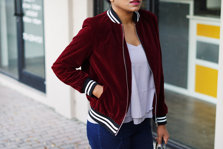 burgundy-velvet-sports-bomber-jacket-street-style