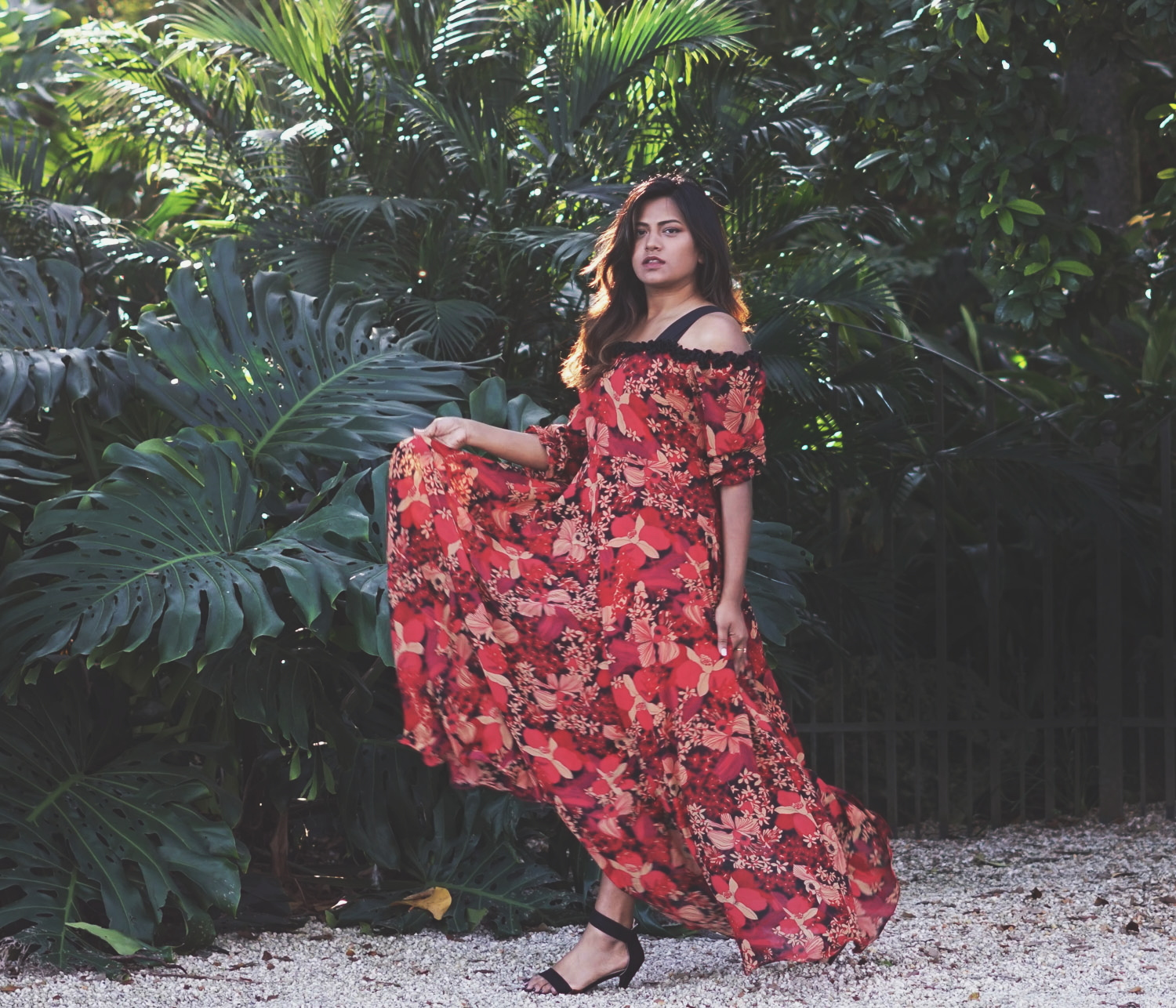 Red Floral Maxi Boho Dress Designed By Afroza Khan