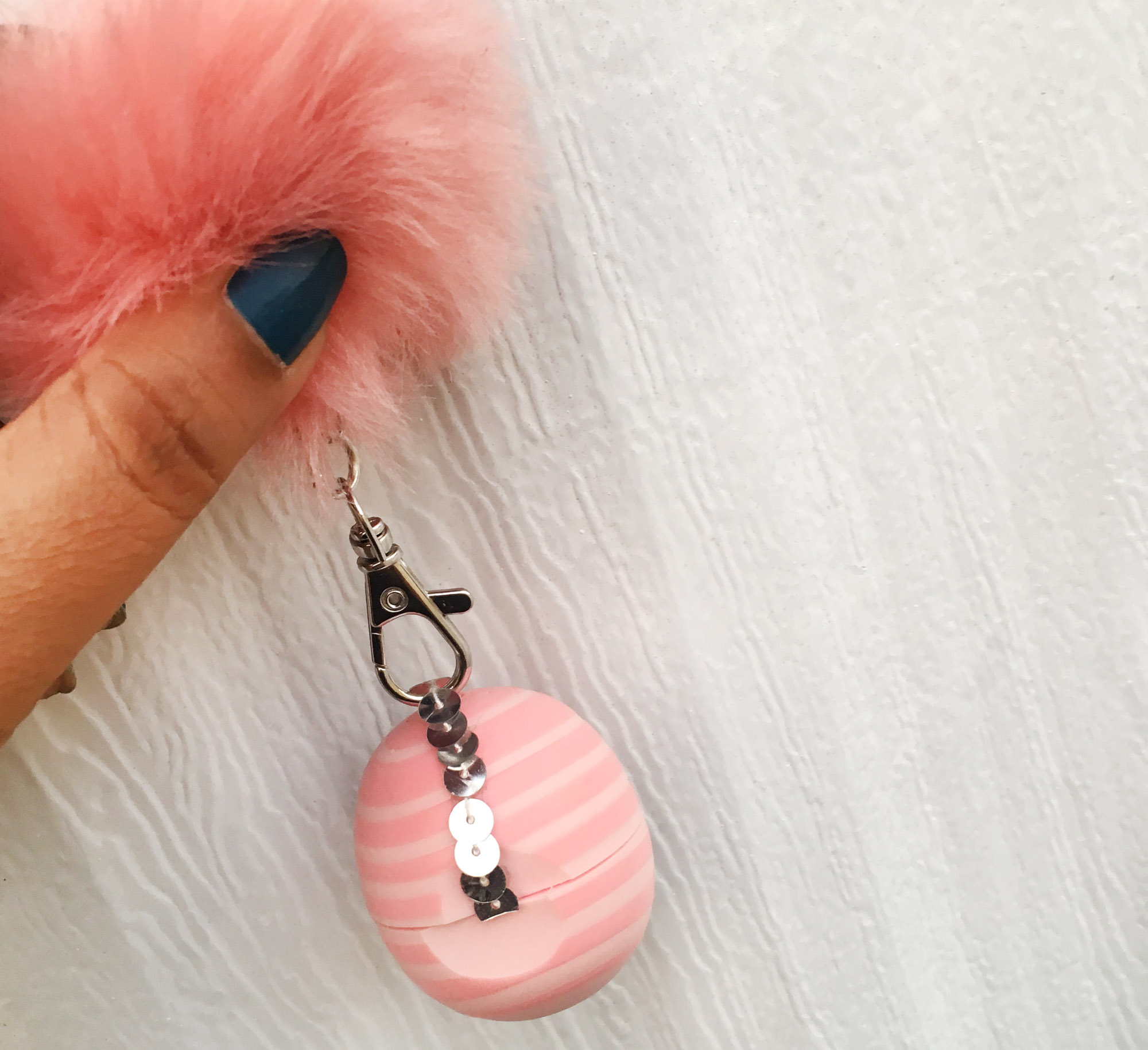 Pretty Pink Sequin Keychain Holder EOS Lip Balm