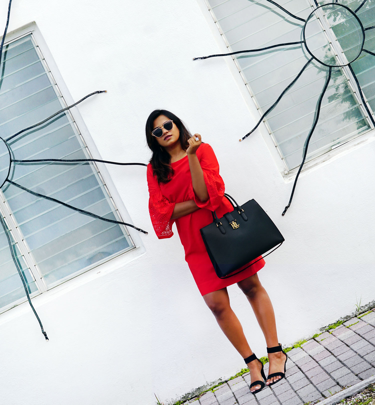 Miami Fashion Blogger Lauren Ralph Lauren Red Dress