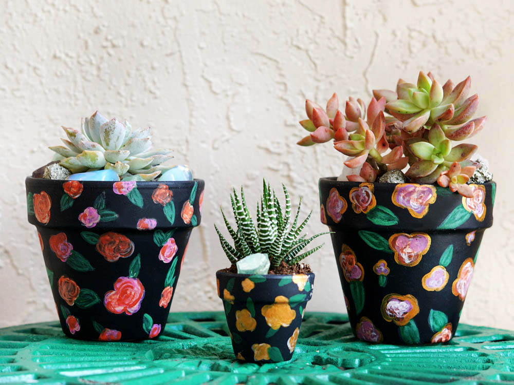 DIY: Boho Dark Floral Painted Terra Cotta Pots