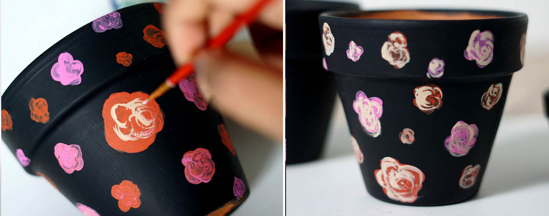Dark Floral Painted Terra Cotta Pots