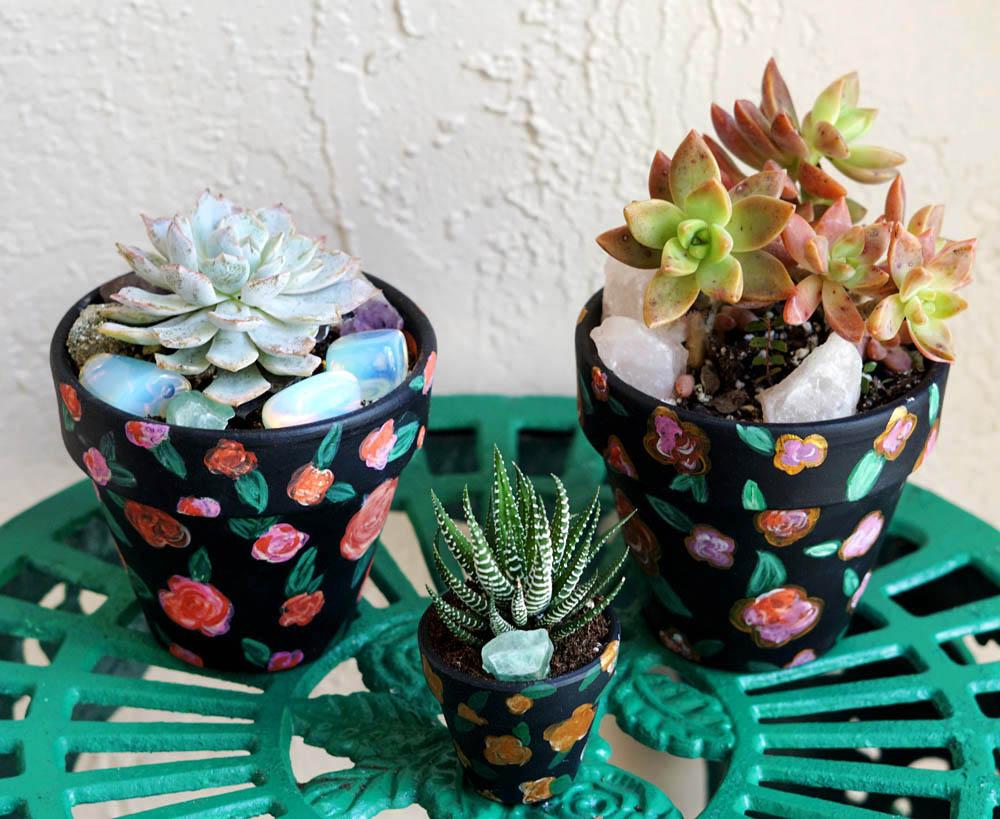 Succulents Dark Floral Painted Terra Cotta Pots