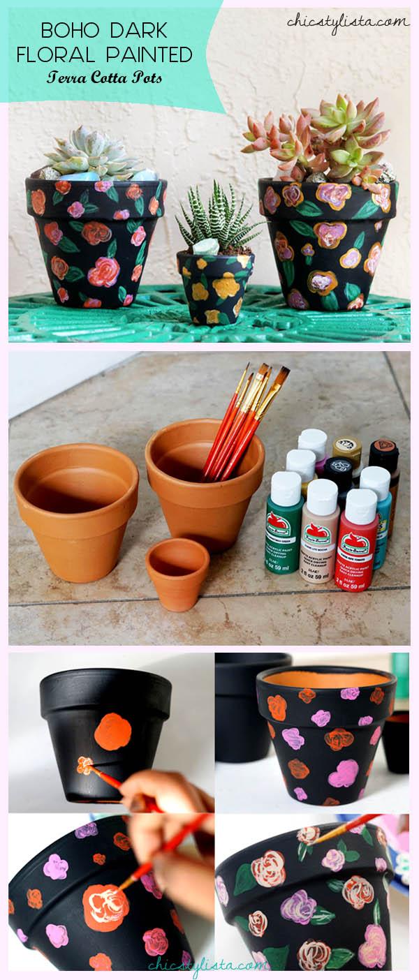 Boho DIY Pinterest Dark Floral Terra Cotta Pots