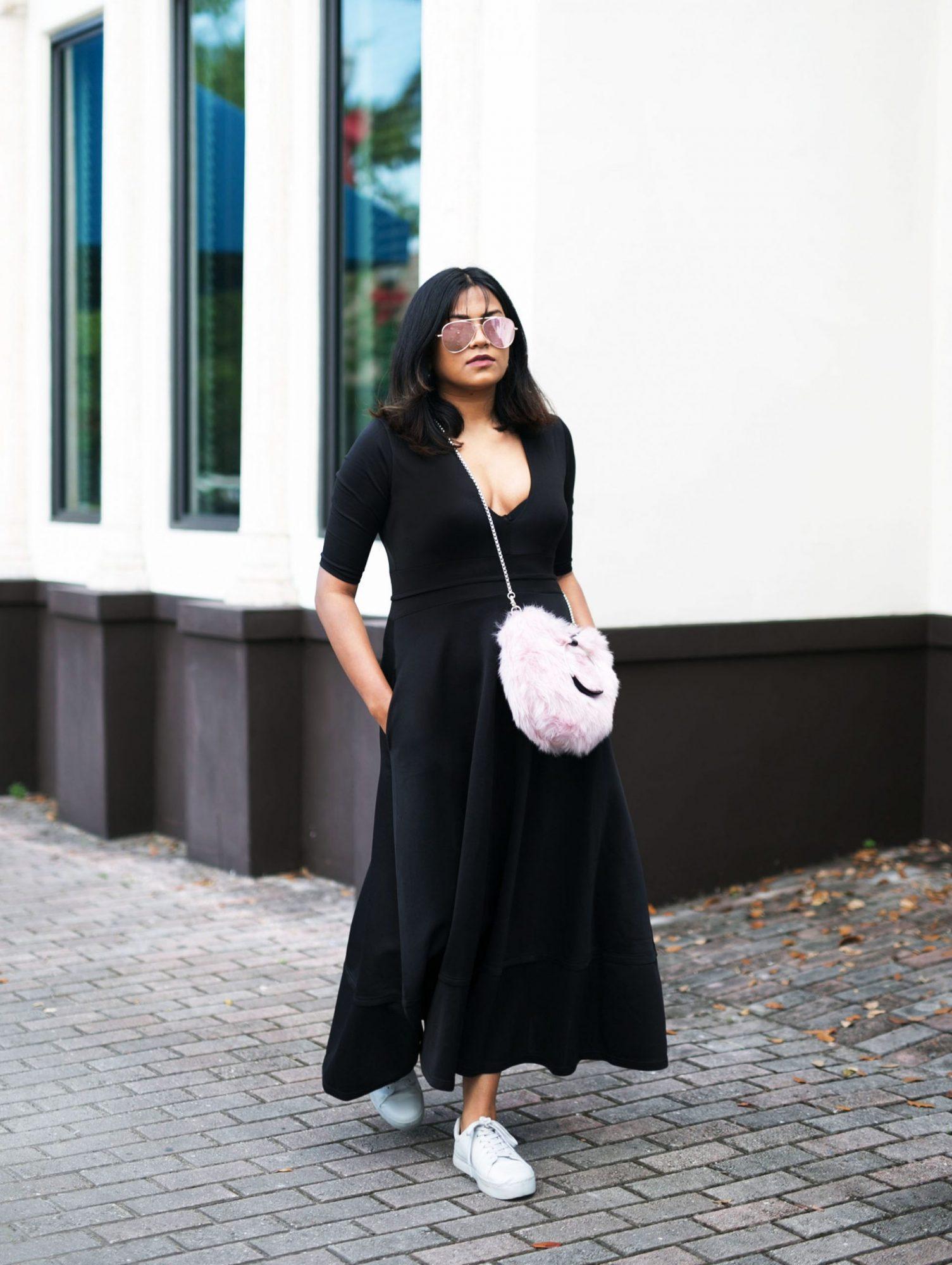 Chic Street Style Afroza Khan Maxi Black Dress