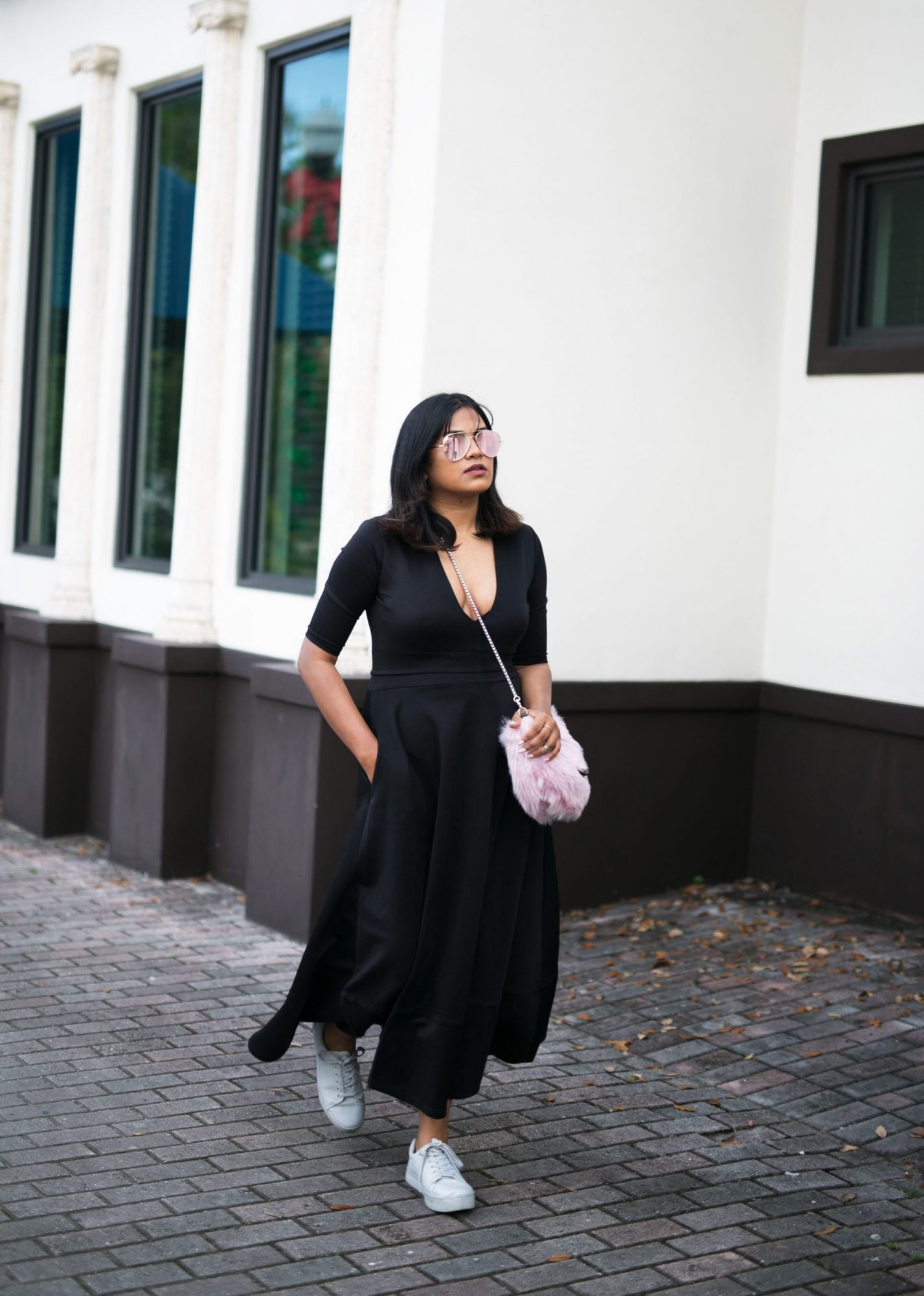 Miami Fashion Street Style Long Black Dress