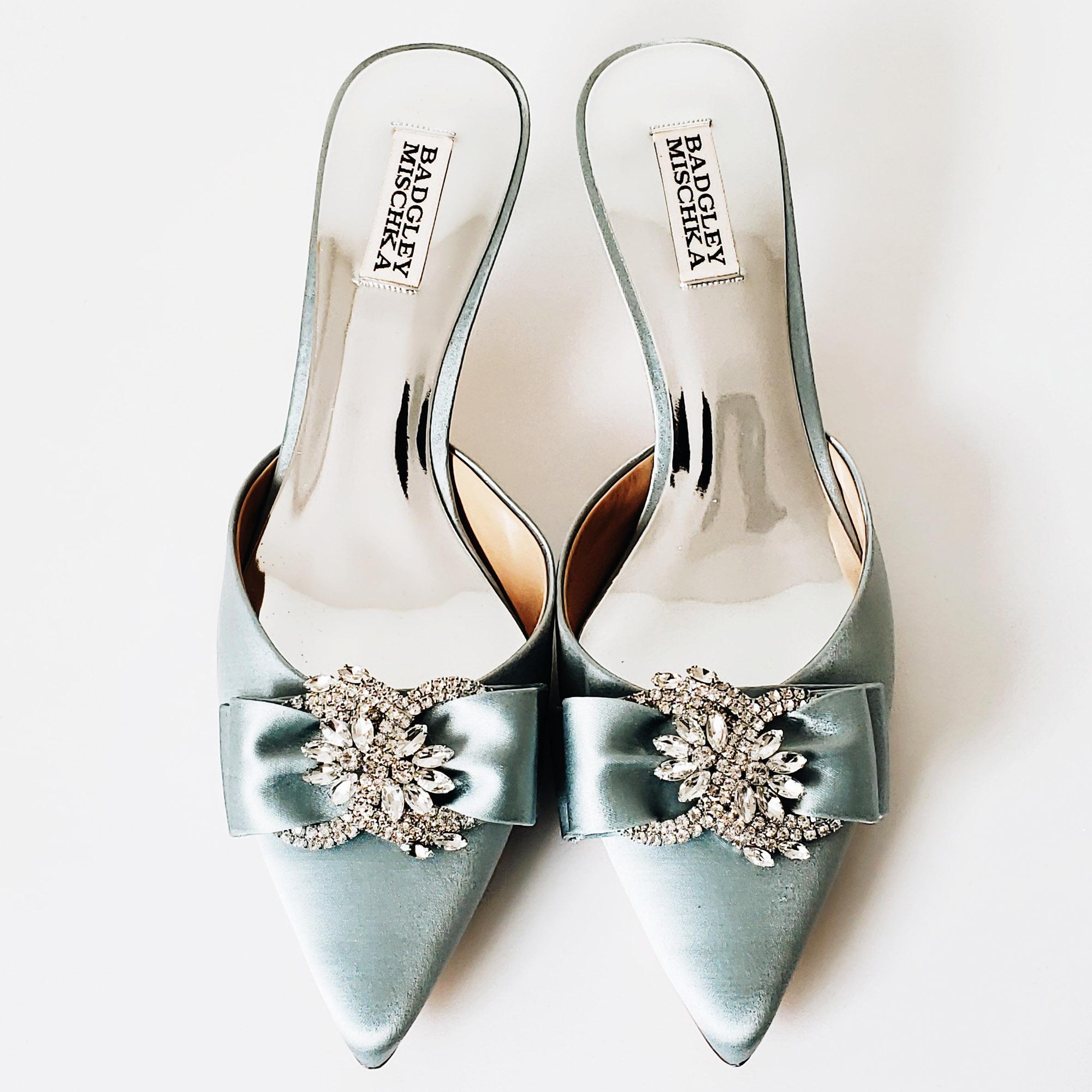 Spring Baby Blue Cinderella Rhinestone Kitten Heel Pointed Toe