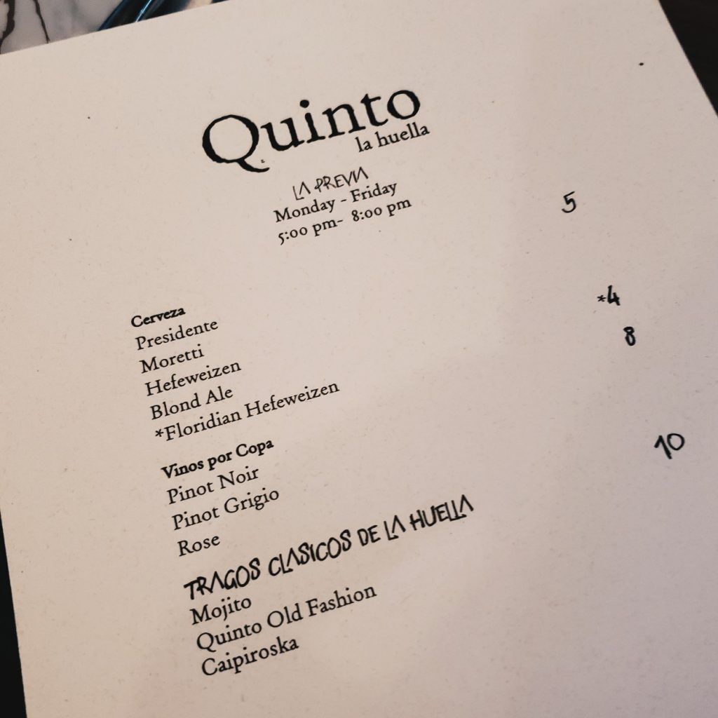 Quinto La Huella Happy Hour Menu