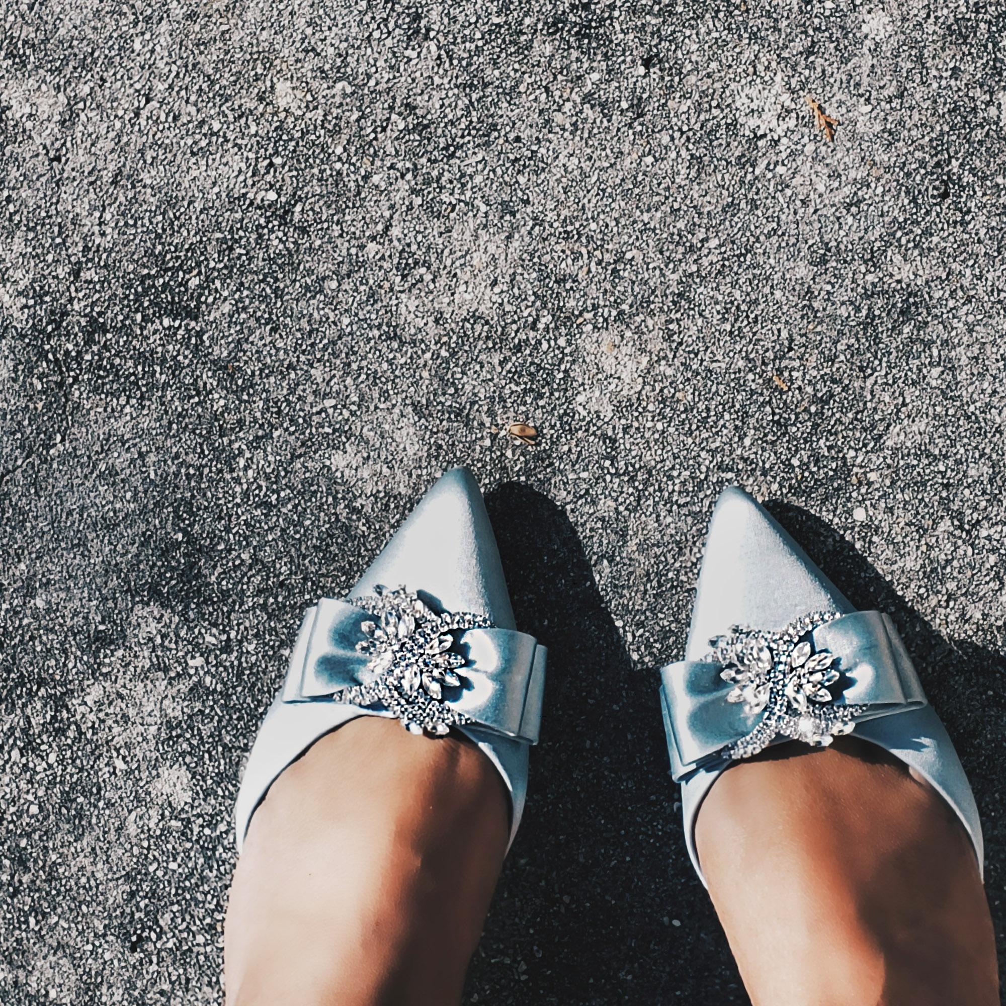 Badgley Mischka Cinderella Rhinestone Blue Heels
