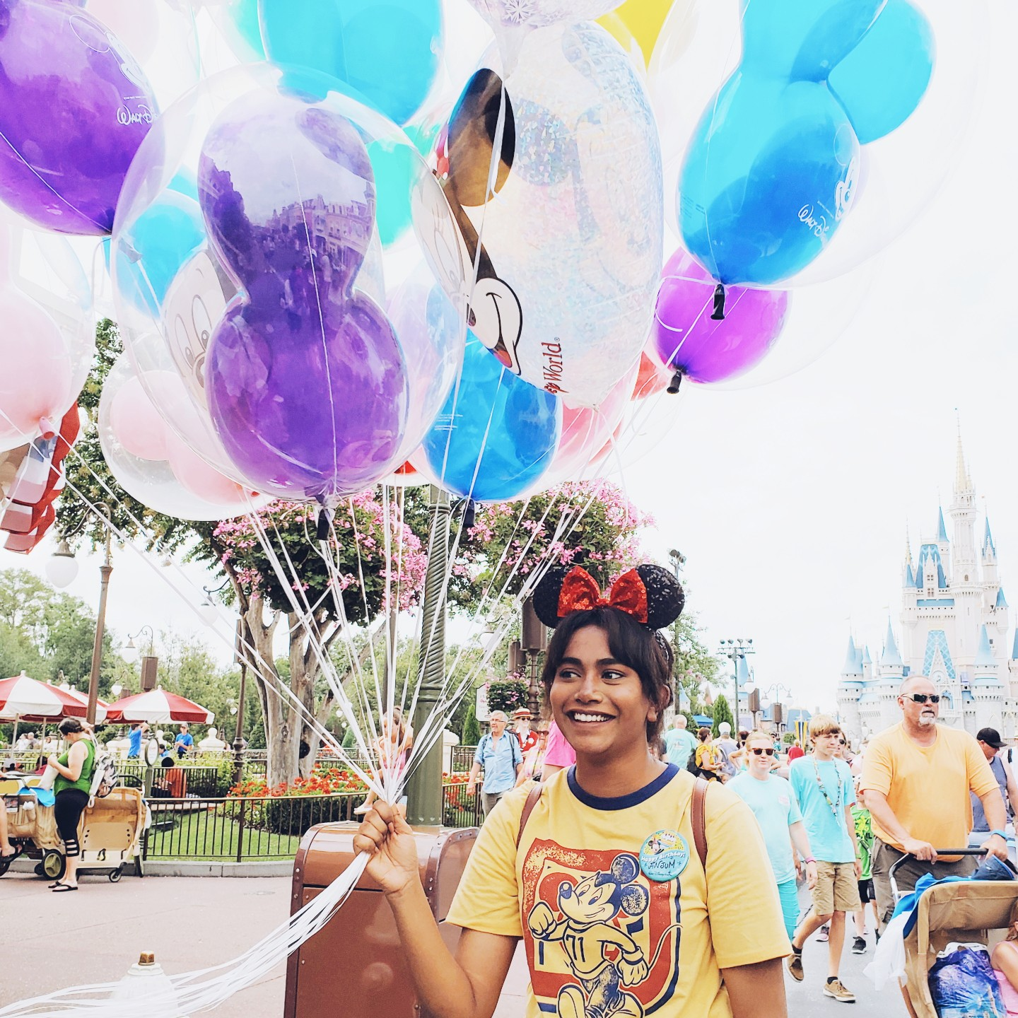 Indian Girl Magic Kingdom Walt Disney World Holding Balloons